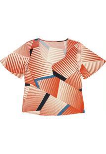 Blusa Com Estampa Geométrica Laranja
