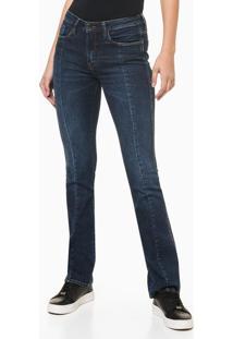 Calça Jeans Feminina Slim Flare Recortes Frontais Azul Marinho Calvin Klein - 42