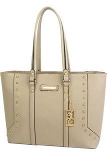 Bolsa Shopping Com Recortes & Rebites - Bege - 28X36Fellipe Krein