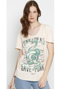"Camiseta Paintsplatter ""Cobra""- Bege & Verde- Colccicolcci"