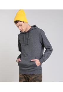 Blusão Masculino Básico Em Moletom Com Capuz Cinza Mescla