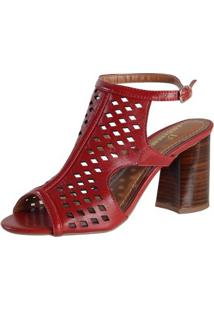 Sandália Alta Recortes - Feminino-Vermelho