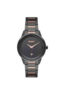 Relógio Orient Feminino Analógico Preto C/ Rose Ftss1127 G1Gr