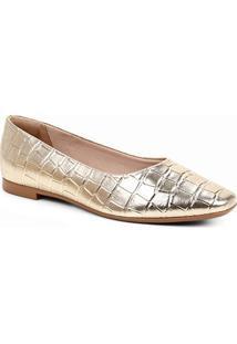 Sapatilha Shoestock Bico Quadrado Croco Feminina - Feminino-Dourado