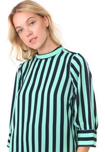Blusa Vero Moda Listrada Azul-Marinho/Verde