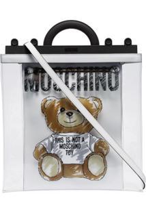 Moschino Bolsa Tote Transparente Com Estampa Teddy - Branco