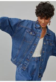 Jaqueta Amaro Jeans Elã¡Stico Barra Azul Mã©Dio - Azul - Feminino - Dafiti