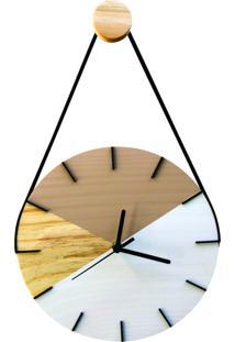 Relógio De Parede Geométrico Branco E Avelã Com Alça 28Cm