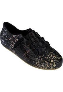 Tênis Melissa Ulitsa Sneaker Splash Feminino - Feminino-Preto+Dourado