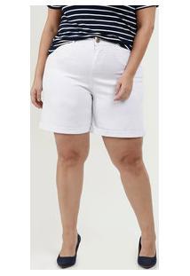 Bermuda Feminina Sarja Plus Size Barra Dobrada Marisa