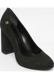 Sapato Tradicional Com Recorte- Preto- Salto: 9Cmloucos E Santos