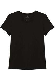 Camiseta Reta Feminina Gola V Anti Odor Cinza