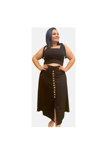 Conjunto Cropped De Alcinha Com Bojo E Saia Com Botões Tnm Collection Moda Feminina Plus Size Preto