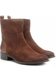 Bota Couro Cano Médio Shoestock Flat Feminino - Feminino-Caramelo
