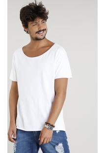 Camiseta Masculina Longa Manga Curta Gola Canoa Branca