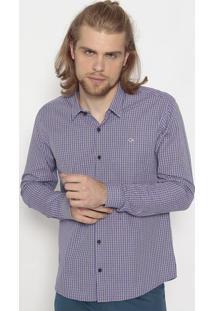 Camisa Slim Fit Xadrez- Roxa & Rosaogochi