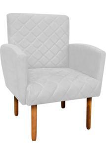 Poltrona Decorativa Veronês Para Sala E Recepção Suede Branco - D'Rossi