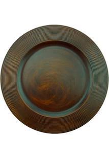 Sousplat Disco Wood Marrom 33Cm - 28765