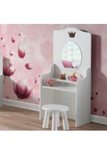 Penteadeira New Design Cinderela Com Banquinho Espelho E 2 Prateleiras