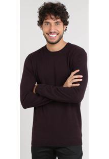 Suéter Masculino Básico Em Tricô Vinho