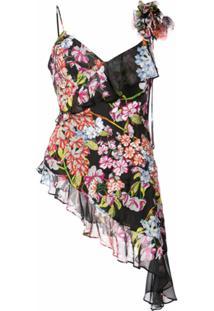 Josie Natori Blusa Com Bordado Hokkaido Blossom - Preto