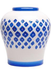 Vaso De Cerã¢Mica Branco E Azul - Incolor - Dafiti