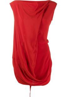 Rick Owens Blusa Com Drapeado - Vermelho