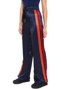 Calça Calvin Klein Pantalona Listras Azul-Marinho