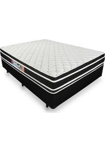 Cama Box Casal + Colchão De Espuma D33 - Castor - Black White Double Face - 138X188X62Cm Preto