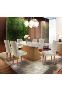 Conjunto De Mesa De Jantar Luna I Com Vidro E 6 Cadeiras Grécia Veludo Creme E Off White