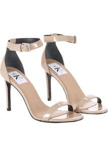 Sandália Tiras Calvin Klein Jeans Couro Verniz Caqui Claro - 37
