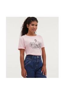 Camiseta Com Bordado Floral - Todas Avançam Juntas | Blue Steel | Rosa | Gg