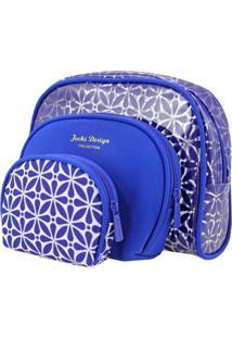 Kit Necessaire 3 Em 1 Geométrica Jacki Design Étnica Azul - Kanui