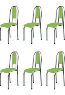 Kit 6 Cadeiras Anatômicas 0.122 Estofada Cromado/Verde - Marcheli
