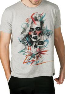 Camiseta Artseries Caveira Mexicana Com Rosto De Mulher Colorida