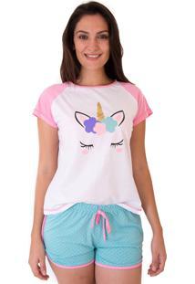 Short Doll Mania Pijamas Unicórnio Brilhante Rosa