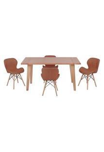 Conjunto Mesa De Jantar Em Madeira 150X80 Vértice + 4 Cadeiras Slim - Marrom