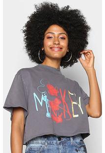 Camiseta Colcci Cropped Mickey Feminina - Feminino-Preto
