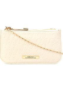 Bolsa Colcci Mini Bag Tiracolo Alça Corrente Placa Feminina - Feminino-Off White