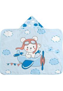 Toalha De Banho Forro Fralda Estampada Masculino Azul