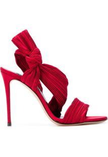 Casadei Sandália Com Plissado - Vermelho