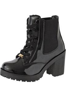 Bota Ankle Boot Feshion Sapatofranca Cano Curto Com Cadarço Preto