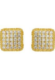 Brinco Aea Quadrado Micro Zirconia Folheado Ouro 18K - Feminino-Dourado