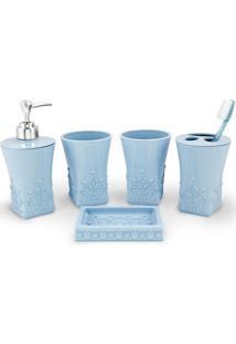 Kit Banheiro Com 5 Peças Jacki Design Lifestyle Azul