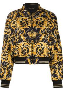 Versace Baroque Print Bomber Jacket - Preto