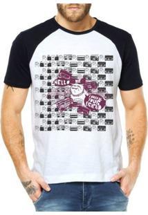 Camiseta Raglan Criativa Urbana Buldogue Urbano - Masculino-Branco