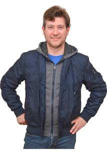 Jaqueta Corazzi Leather Deluxe Nylon E Moletom Capuz Azul-Marinho