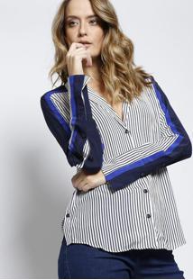 Camisa Nicole Listrada - Azul Marinho & Brancale Lis Blanc