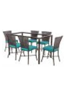 Jogo De Jantar 6 Cadeiras Turquia Pedra Ferro A20 E 1 Mesa Retangular Sem Tampo Ideal Para Área Externa Coberta