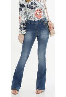Calça Boot Cut Feminina Botões Zune Jeans